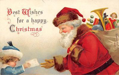 xms100553 - Santa Claus Post Card Old Antique Vintage Christmas Postcard