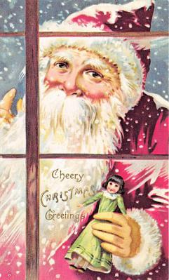 xms100633 - Santa Claus Post Card Old Antique Vintage Christmas Postcard