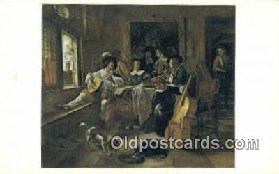 xrt100131 - Jan Steen - The Family Concert Art Postcards Post Cards Old Vintage Antique
