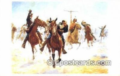 xrt100141 - Charles Schreyvogel - Breaking Through the line Art Postcards Post Cards Old Vintage Antique