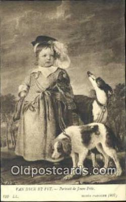 Van Dyck Et Fyt. Portait de Jeune Fille Art Postcards Post Card
