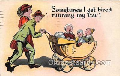 xrt333189 - Artist EL White Running My Car Postcard Post Card
