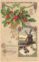 xms000033 - Christmas Post Card Old Vintage Antique Xmas Postcard