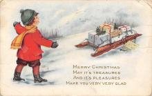 xms000045 - Christmas Post Card Old Vintage Antique Xmas Postcard