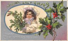 xms000049 - Christmas Post Card Old Vintage Antique Xmas Postcard