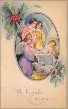xms000075 - Christmas Post Card Old Vintage Antique Xmas Postcard