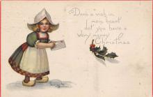 xms000103 - Christmas Post Card Old Vintage Antique Xmas Postcard