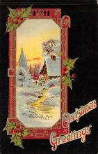 xms000123 - Christmas Post Card Old Vintage Antique Xmas Postcard