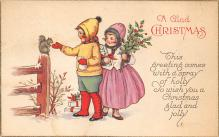 xms000135 - Christmas Post Card Old Vintage Antique Xmas Postcard