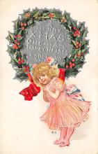 xms000147 - Christmas Post Card Old Vintage Antique Xmas Postcard