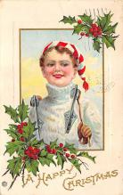 xms000159 - Christmas Post Card Old Vintage Antique Xmas Postcard