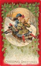 xms000163 - Christmas Post Card Old Vintage Antique Xmas Postcard