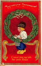 xms000191 - Christmas Post Card Old Vintage Antique Xmas Postcard