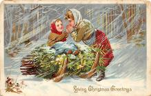 xms000205 - Christmas Post Card Old Vintage Antique Xmas Postcard