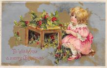 xms000209 - Christmas Post Card Old Vintage Antique Xmas Postcard