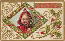 xms000227 - Christmas Post Card Old Vintage Antique Xmas Postcard