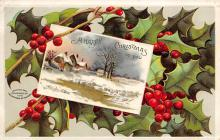xms000259 - Christmas Post Card Old Vintage Antique Xmas Postcard