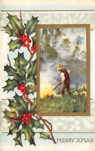 xms000261 - Christmas Post Card Old Vintage Antique Xmas Postcard