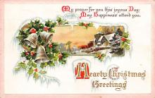 xms000263 - Christmas Post Card Old Vintage Antique Xmas Postcard