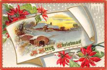 xms000285 - Christmas Post Card Old Vintage Antique Xmas Postcard