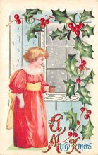 xms000297 - Christmas Post Card Old Vintage Antique Xmas Postcard