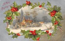 xms000319 - Christmas Post Card Old Vintage Antique Xmas Postcard