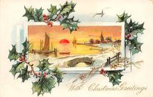xms000349 - Christmas Post Card Old Vintage Antique Xmas Postcard