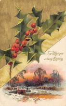 xms000357 - Christmas Post Card Old Vintage Antique Xmas Postcard
