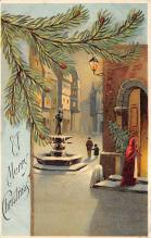 xms000401 - Christmas Post Card Old Vintage Antique Xmas Postcard