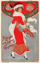 xms000405 - Christmas Post Card Old Vintage Antique Xmas Postcard