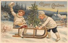 xms000437 - Christmas Post Card Old Vintage Antique Xmas Postcard