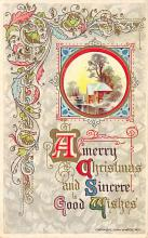 xms000491 - Christmas Post Card Old Vintage Antique Xmas Postcard