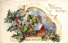 xms000693 - Christmas Post Card Old Vintage Antique Xmas Postcard