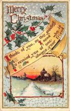 xms000701 - Christmas Post Card Old Vintage Antique Xmas Postcard