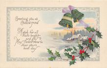 xms000715 - Christmas Post Card Old Vintage Antique Xmas Postcard