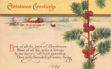 xms000747 - Christmas Post Card Old Vintage Antique Xmas Postcard