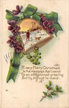 xms000771 - Christmas Post Card Old Vintage Antique Xmas Postcard