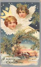 xms000803 - Christmas Post Card Old Vintage Antique Xmas Postcard