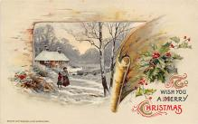 xms000819 - Christmas Post Card Old Vintage Antique Xmas Postcard