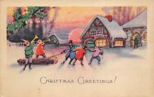 xms000925 - Christmas Post Card Old Vintage Antique Xmas Postcard
