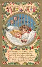 xms001001 - Christmas Post Card Old Vintage Antique Xmas Postcard