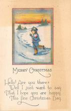 xms001007 - Christmas Post Card Old Vintage Antique Xmas Postcard