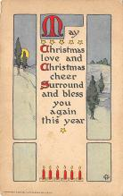 xms001017 - Christmas Post Card Old Vintage Antique Xmas Postcard