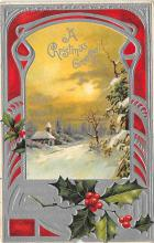 xms001049 - Christmas Post Card Old Vintage Antique Xmas Postcard