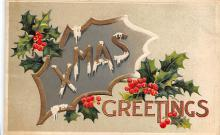 xms001101 - Christmas Post Card Old Vintage Antique Xmas Postcard