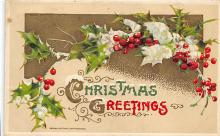 xms001103 - Christmas Post Card Old Vintage Antique Xmas Postcard
