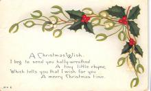 xms001119 - Christmas Post Card Old Vintage Antique Xmas Postcard
