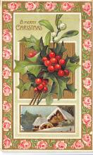 xms001123 - Christmas Post Card Old Vintage Antique Xmas Postcard
