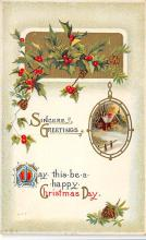 xms001127 - Christmas Post Card Old Vintage Antique Xmas Postcard