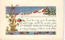 xms001129 - Christmas Post Card Old Vintage Antique Xmas Postcard